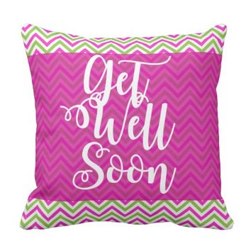 Pink & Green Striped Get Well Soon Gift Pillow