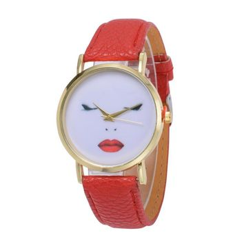 Women  Leather Analog Wrist Fashion Funny Human Face Printed Watches