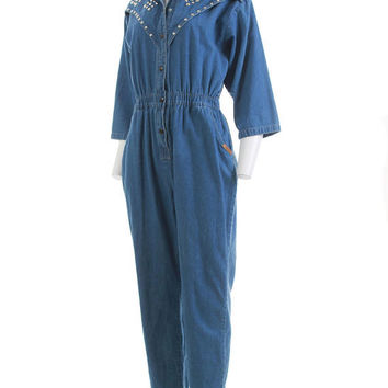 "Denim Jumpsuit Women 80s Clothing Studded Jumpsuit Baggy Tapered High Waisted Jeans Vintage Clothing Women's Size MEDIUM 28"" Waist 42"" Hips"