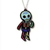 Hey Chickadee - Rainbow Skeleton necklace
