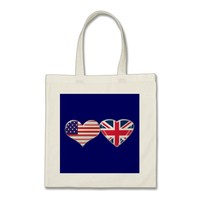 USA and UK Heart Flag Design Tote Bag