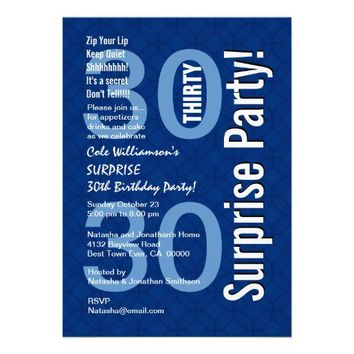 SURPRISE 30th Birthday Party Modern Royal Blue Personalized Invitations