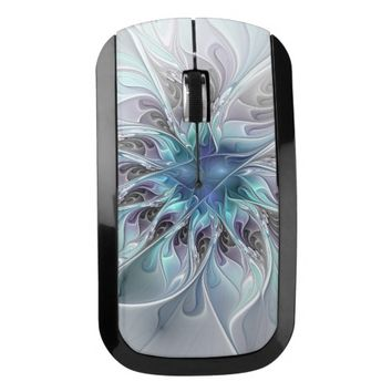 Flourish Abstract Modern Fractal Flower With Blue Wireless Mouse