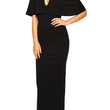 Black Cape Overlay Deep V-Neck Maxi Dress
