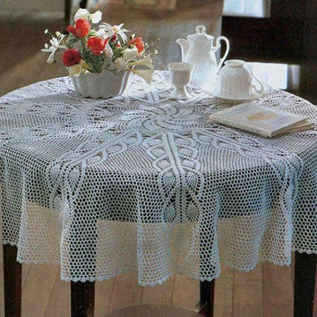 Crochet Lace Tablecloth, Round, White, Heirloom, Victorian, Rustic, Wedding Gift