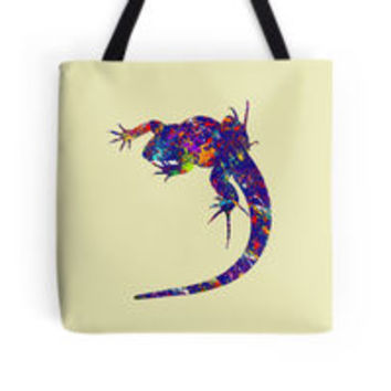 'Colourful Lizard 2' Tote Bag by Bamalam Art and Photography