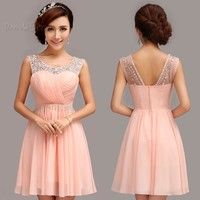 $97.09 Dresswe.com SUPPLIES Fashion Sweet Scoop Neck A-Line Beading Short Homecoming Dress