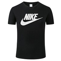 NIKE tide brand men and women loose casual sports half sleeve t-shirt Black