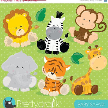 80% OFF SALE Baby Safari Animals clipart commercial use, Jungle animals vector graphics, digital clip art, digital images - CL711