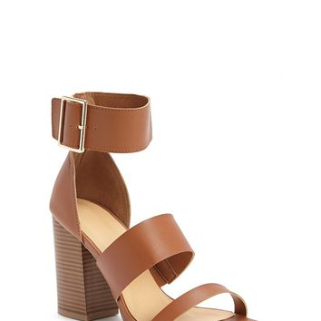 Faux Leather Strappy Heels