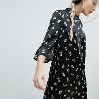 Influence Shift Dress With Mandarin Collar Detail In Satin Buttercup Floral at asos.com