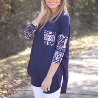 Native Pocket Top, Navy