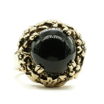 Adjustable Fashion Ring with Simulated Onyx Stone in Antiqued Gold Tone Floral Setting