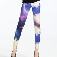 Free Shipping Blue Star Printing Leggings Pencil Pants KA806 from GowithGalaxy