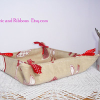 Fabric basket. Fabric bread basket. Multipurpose fabric basket. Handmade fabric basket.