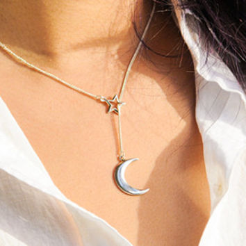 Heart and arrow lariat sterling silver necklace
