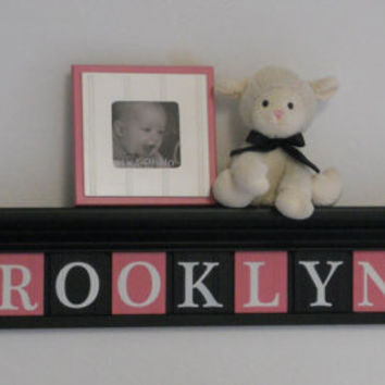 "Personalized Childern Nursery Decor 42"" Black Shelf with 11 Letter Wooden Tiles Painted Black and Pink - BROOKLYNN with Hearts"