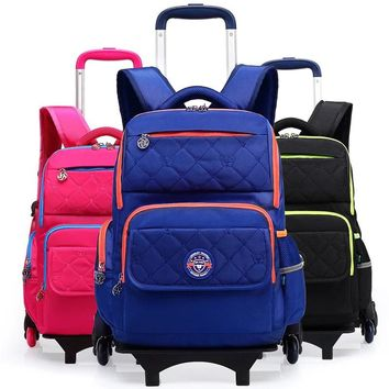 3 Colors School Backpack For Girls and Boy With Wheel Luggage