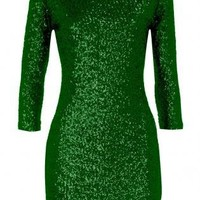 Plus Size - Hunter Green Sequin Dress