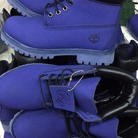 PEAPON Timberland Rhubarb Boots 10061 Blue Waterproof Martin Boots