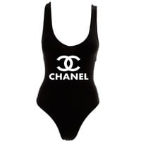 Chanel One-Piece Swimsuit Thong Tank Bodysuit by American Apparel