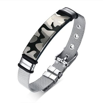 Men's Bracelet Stainless Steel Network Chain Male Gift Bestfriend Souvenir Military Dragon Bible