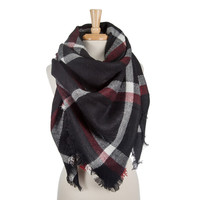 Navy Blue, Red and White plaid Blanket Scarf