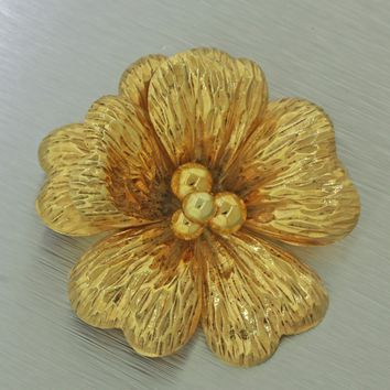 RARE Vintage Tiffany and Co. 14k Solid Yellow Gold Flower Brooch Pin Germany