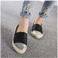 Women's  Leather Flats, Ladies Espadrilles, Casual Slip-on Flat Shoes