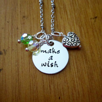 """Disney's """"Princess and the Frog"""" Inspired Necklace. Tiana. """"Make A Wish"""". Swarovski crystals, for women or girls. Hand stamped."""