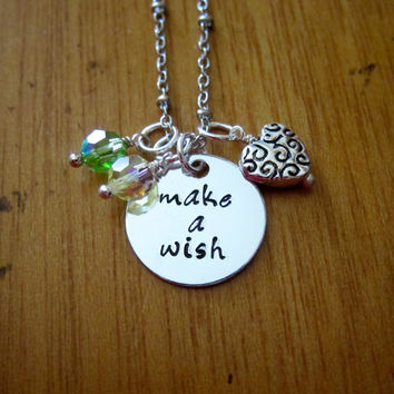 "Disney's ""Princess and the Frog"" Inspired Necklace. Tiana. ""Make A Wish"". Swarovski crystals, for women or girls. Hand stamped."