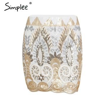 Simplee Sequin vintage flower skirts women Chic pencil elastic high waist skirt 2018 summer Sexy party mini skirt female
