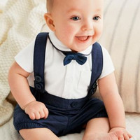 New 2016 baby boy clothes gentleman newborn baby clothing set high quality cotton T-shirt + Overalls