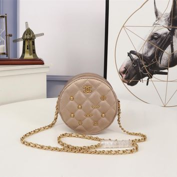 Kuyou Gb99822 Chan Round Shoulder Bag In Champagne Calf Leather With Badge 13.5*13.5*6.5cm