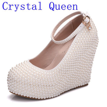Crystal Queen Woman Platform Wedges White Ivory Pearl Crystal Rh 476302e2e1d6