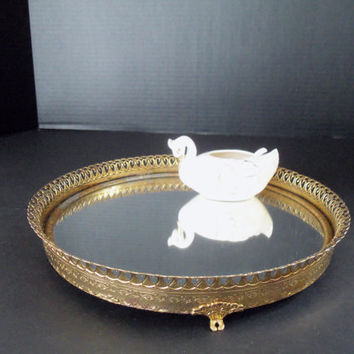 Mirrored  Dresser or Perfume Tray Filligree Round Shabby Chic or Hollywood