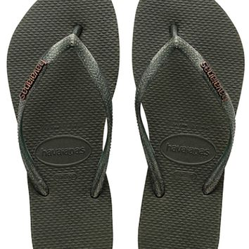 Havaianas Slim Logo Metallic in Green Olive