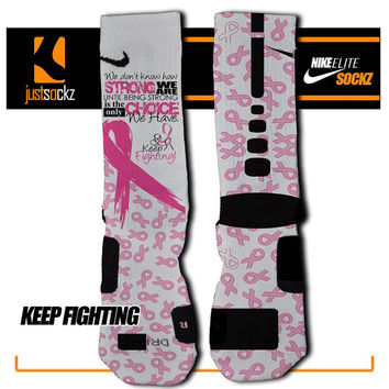 KEEP FIGHTING Custom Nike Elite Socks basketball pink ribbon breast cancer awareness be strong