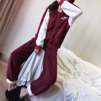 """Gucci"" Women Casual Fashion Multicolor Letter Bee Embroidery Long Sleeve Zip Cardigan Flannel Home Wear Set Two-Piece"