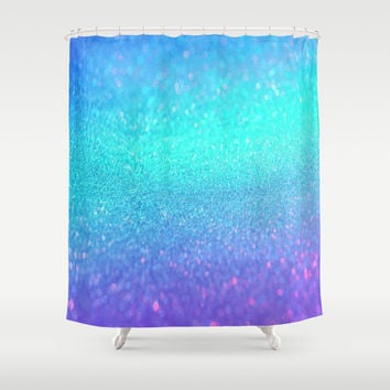 purple blue glitter Shower Curtain by Haroulita