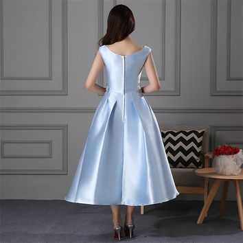 Blue Boat Neck Flower Floral Taffeta Tea-Length Bride Dress Zipper Prom Dress Party Wedding Dress