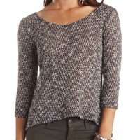 Bar-Back Marled High-Low Top by Charlotte Russe - Black Combo