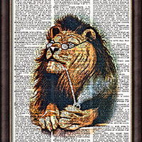 VINTAGE DICTIONARY ART PRINT POSTER, Lion Smoking Pipe, Old Book Art Print