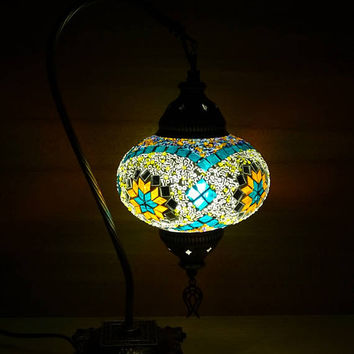 Swan neck Turkish unique handmade colourful patterned glass mosaic bedside lamp, table lamp, bedroom night lamp, office table lamp.