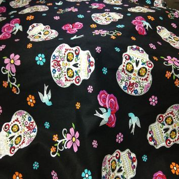 Punk Cool Halloween Flower Skull Printed Cotton Fabric For DIY Sewing Bedding Clothing Quilting Dressing