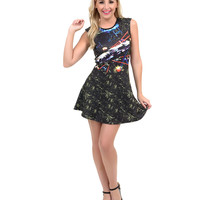 Black Star Wars Death Star Battle Scene Scuba & Mesh Back Skater Dress