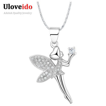 New Fashion 2015 China Silver Zirconia Dancing Angel Necklace with Pendant Foreign Jewelry Suspension Christmas Girl Gift N1276