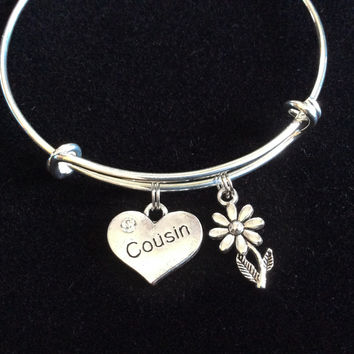 Cousin Heart and crystal with Daisy Charm on a Silver Expandable Bangle Bracelet Meaningful Reunion Gift