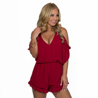 Waves Of Ruffles Romper In Burgundy