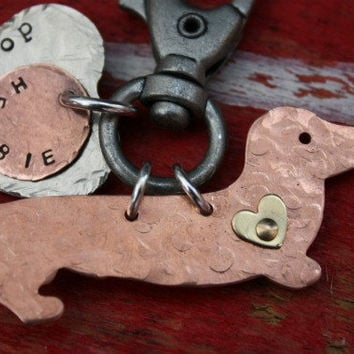 New Dachshund Keychain Dappled Longhair with custom by tagsoup